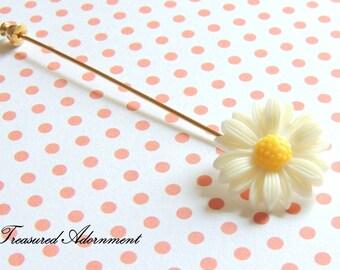 Hijab pin, White Margaret Hijab pin Scarf pin, Flower Hijab pin, Hat Stick pin, Gold, Silver, Ramadan gift, gift for Eid, Thank you gift