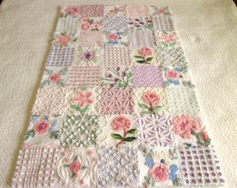 "Custom Ordered Heirloom Quality ""Roses and Violets"" - Vintage Chenille Handmade Baby Quilt"