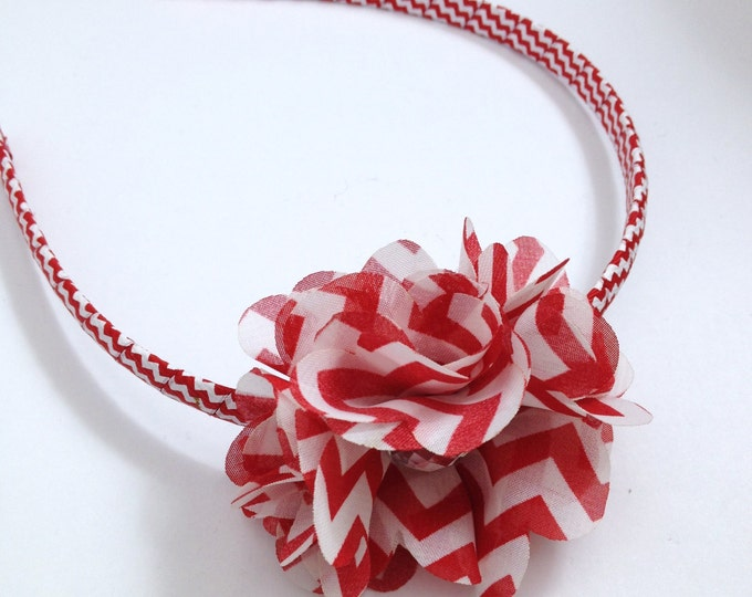 Red & White Chevron Print Hair Flower Headband