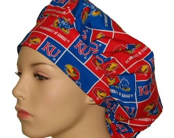 Scrub Hats - University Of Kansas Jayhawks Fabric