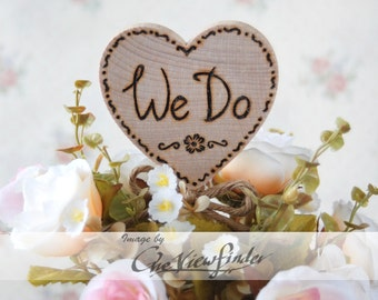 Customize Rustic Wedding Cake Topper, We do, Hitched - Rustic Heart