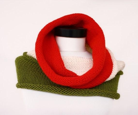 Hooded Neck Warmer Knitting Pattern : Eyebright - Tricolor Hooded Cowl - Beginner Knitting Cowl Pattern - Women...