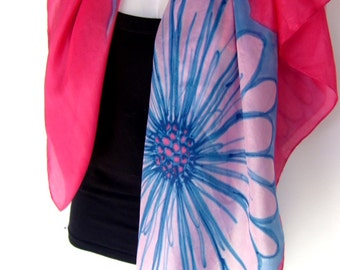 "Hand Painted Silk Scarf,  Floral Silk Scarf, Raspberry Red Turquoise Blue, 35"" Square Silk Scarf"