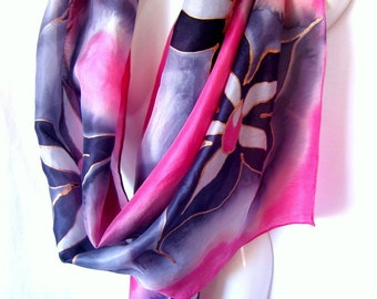 "Floral Silk Scarf, Hand Painted Silk Scarf, Red Black Gray, 71"" x 18"", Gift For Her"