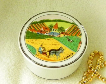 Villeroy and Boch Porcelain Trinket Box. Design Naif. Pastoral Farm and Church Scene.