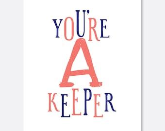 You're A Keeper Anniversary Card, Blank Greeting Card, Empty Greeting Card, Love Card, Cute Card, Simple Card, Modern Card