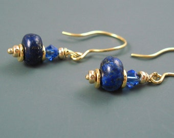 Lapis Gemstone Earrings with Crystal and Gold Fill, Deep Blue Earrings