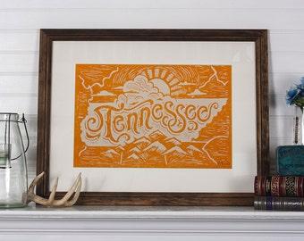 Tennessee State Orange - 12.5 x 19 Block Print