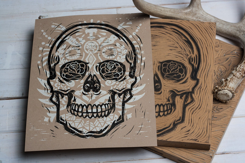 French Drain Sugar Skull Block Print