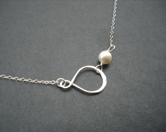 infinity charm with pearl necklace - sterling silver