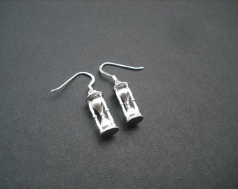 sand timer charm earrings - sterling silver ear wires