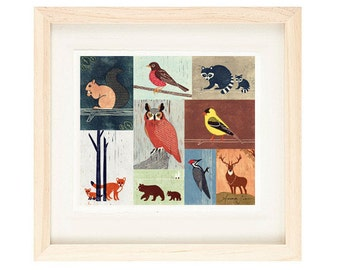 WOODLANDS ANIMALS - Birds, Owl, Fox, Raccoon, Squirrel, Robin, Bear, Woodpecker, Colorful Collage Linocut Illustration Art Print 14 x 12