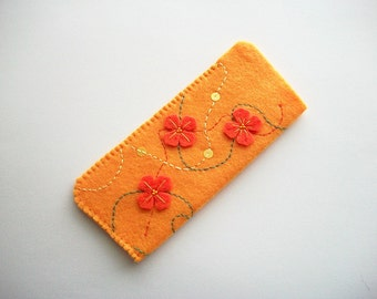 Eyeglass Case Yellow Felt with Hand Embroidered Felt Flowers and Swirls Handsewn
