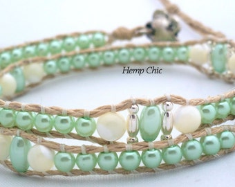 Handmade Double Wrap Hemp Wrap Bracelet or Hemp Choker with Pale Green Glass Pearls and Mother of Pearl Beads