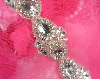 """XR279 Brooke Silver Beaded Crystal Glass Rhinestone Trim 1.5"""" (XR279-slcr)"""