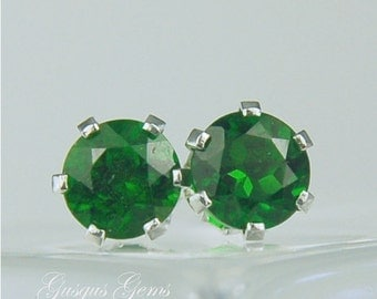 Chrome Diopside Sterling Silver Stud Earrings 6mm Round 1.95ctw Natural Untreated Emerald Green