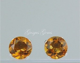 Madeira Citrine Stud Earrings Sterling Silver 6mm Round 1.55ctw