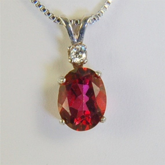 Crimson Topaz Necklace Sterling Silver 9x7mm Oval 2.45ct With Accent Cz