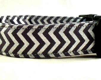 The Metallic Collection Charcoal Grey and Silver Chevron Zig Zag Stripe Dog Collar