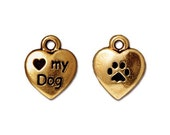 TierraCast Love My Dog Charm - pewter antiqued gold finish - pet canine dog puppy luv heart charm