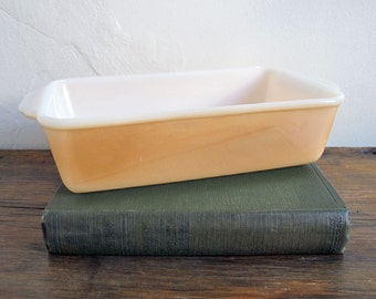 Vintage Fire King Lusterware Loaf Pan Casserole Dish Peach