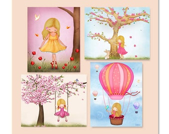 Girls bedroom wall art, kids room posters,personalized art for girls room, kids art decor, nursery decor, children's wall decor set of 4