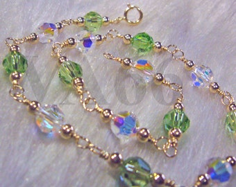 14k gold filled Swarovski Crystal 5000 6mm Round Crystal Anklet U choose Color 925 silver Bridal jewelry, bridesmaids Plus Size, custom made