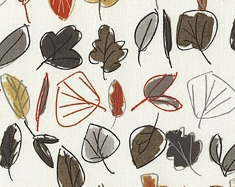WoodWinked Fabric by Dear Stella Sketched Stripes Stripe Leaves Orange Gray Brown Fall Colors on Bone Ivory
