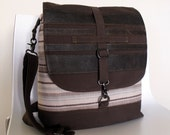 Convertible Backpack Messenger Satchel  LONDoN in LEATHER STRIPE