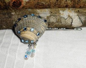 Seashell Hair Pin Bobby Pin Embellished wSwarovski Rhinestones Swarovski Crystal Dangle Charms Beach Wedding