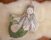 Hand-painted little mermaid soft doll 16""