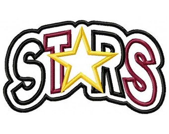 Stars Arc with a Shadow 2 Color Embroidery Machine Applique Design 4201