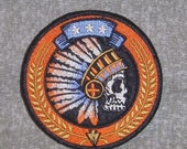 Embroidered Tribal indian w/headdress patch. Iron/sew on. Shipping included.