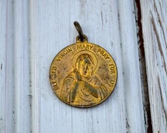 Antique Religious Medal Pendant Brass