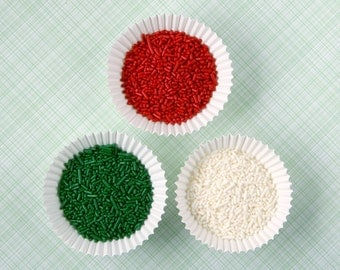Christmas Jimmies,  Christmas Sprinkles, Red, Green and White Jimmies Mix (6 oz)