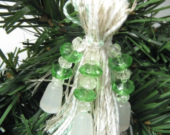 Silver, White and Green Beaded Tassel Ornament with Vintage Glass