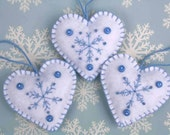 Felt Christmas heart ornaments,Handmade blue and white snowflake hearts,3 Scandinavian embroidered heart decorations,felt tree ornaments.CIJ