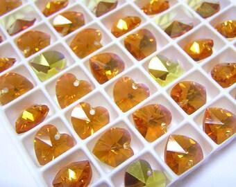 12 pcs TOPAZ AB Swarovski Crystal Heart Beads 6202 10mm Wholesale Destash