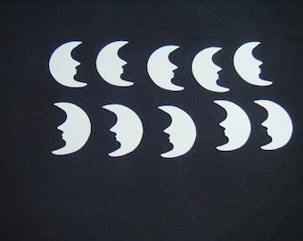 20 Crescent Moon, Ivory Moon, Moon Die Cut, Halloween Die Cut, Ivory Cardstock, Heavyweight Cardstock