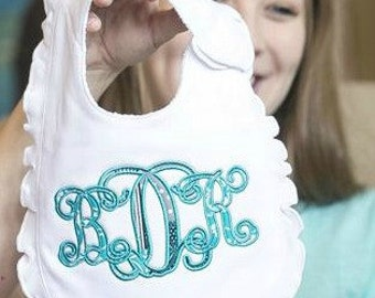 Baby Gift/Baby Girl Bib/Baby Boy Bib/Bib/Boutique Style Monogrammed Bib/Monogrammed Bib/Personalized Bib/Ruffled Bib/Personalized Ruffle Bib