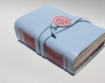 Blue Leather Notebook or Leather Travel Journal Book with Handmade Porcelain Button