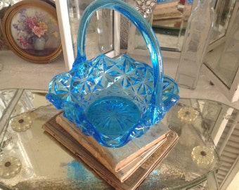 Beautiful Turquoise Aqua Colored Glass Basket Candy Bowl Vintage Glasswar