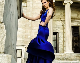 Stunning Couture Gown with Bias Bodice and Flared Bottom