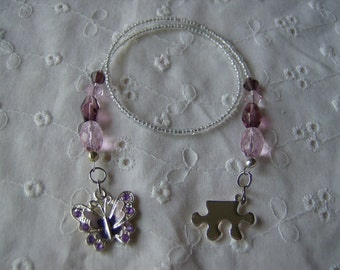 Beautiful Beaded Bookmark Book Thong with Butterfly and Puzzle Piece Free Shipping US