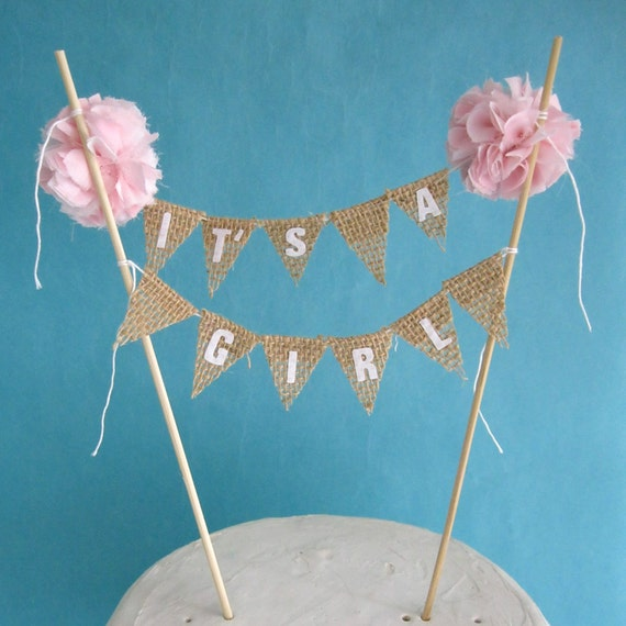 bunting burlap baby shower baby banner it 39 s a girl c182