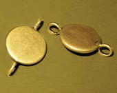 20pcs 12mm BRASS Base Trays Double loop antique bronze blank pendant