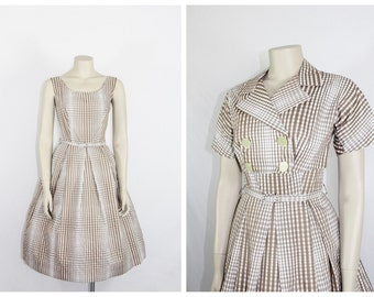 1950s Vintage Dress - New Old Stock Brown and White Varying Plaid Cotton Full Skirt Dress and Matching Bolero Jacket NOS - 34 / 26 / full