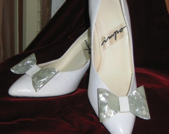 50's/60's White Patent Leather Evening Shoes Formal/Wedding Heels