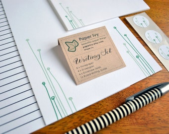 Stationery Writing Set - Soft Green Sprout - Letter Writing Paper with Matching Envelopes and Seals