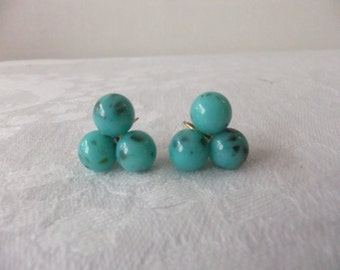 Vintage Earrings Plastic Turquoise Color Ball Screw Back Screw Back Costume Jewelry